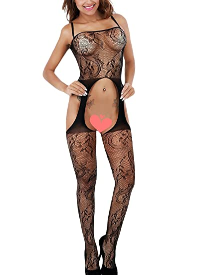 19608503c7 Freemale Womens Sexy Fishnet Lingerie Open Crotch Corest Bodystocking  Bodysuit Tights Black. Roll over image to zoom in