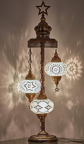 Turkish Moroccan Mosaic Glass Handmade Tiffany Floor Lamp Light Snow White