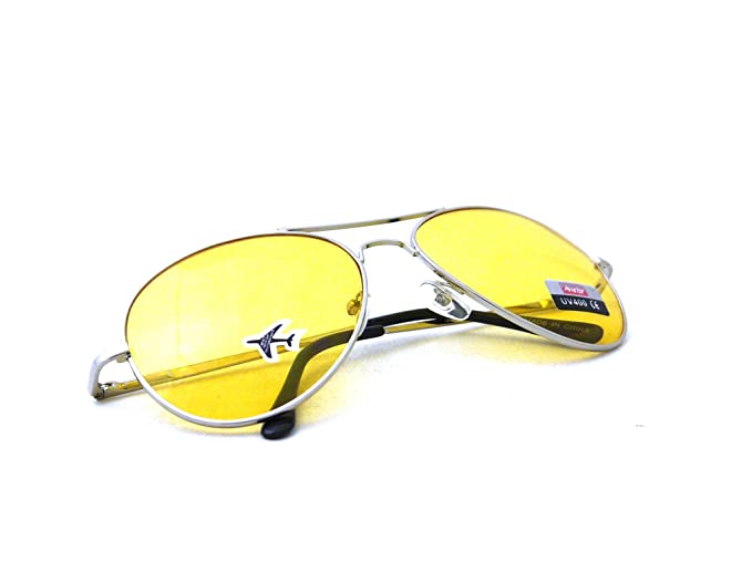 042dc1e28ea0b Image Unavailable. Image not available for. Color  Retro Classic Multi Color  Colorful Premium Silver Metal Aviator Glasses with Tint Yellow Lens  Sunglasses