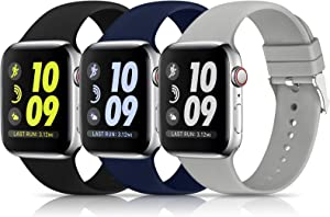 3 Pack Sport Bands Compatible with Apple Watch Band 38mm 40mm 42mm 44mm, Soft Silicone Sport Replacement Band Compatible with iWatch Series 6 5 4 3 2 1 Women Men ( Black/Gray/Navy Blue 38MM/40MM)