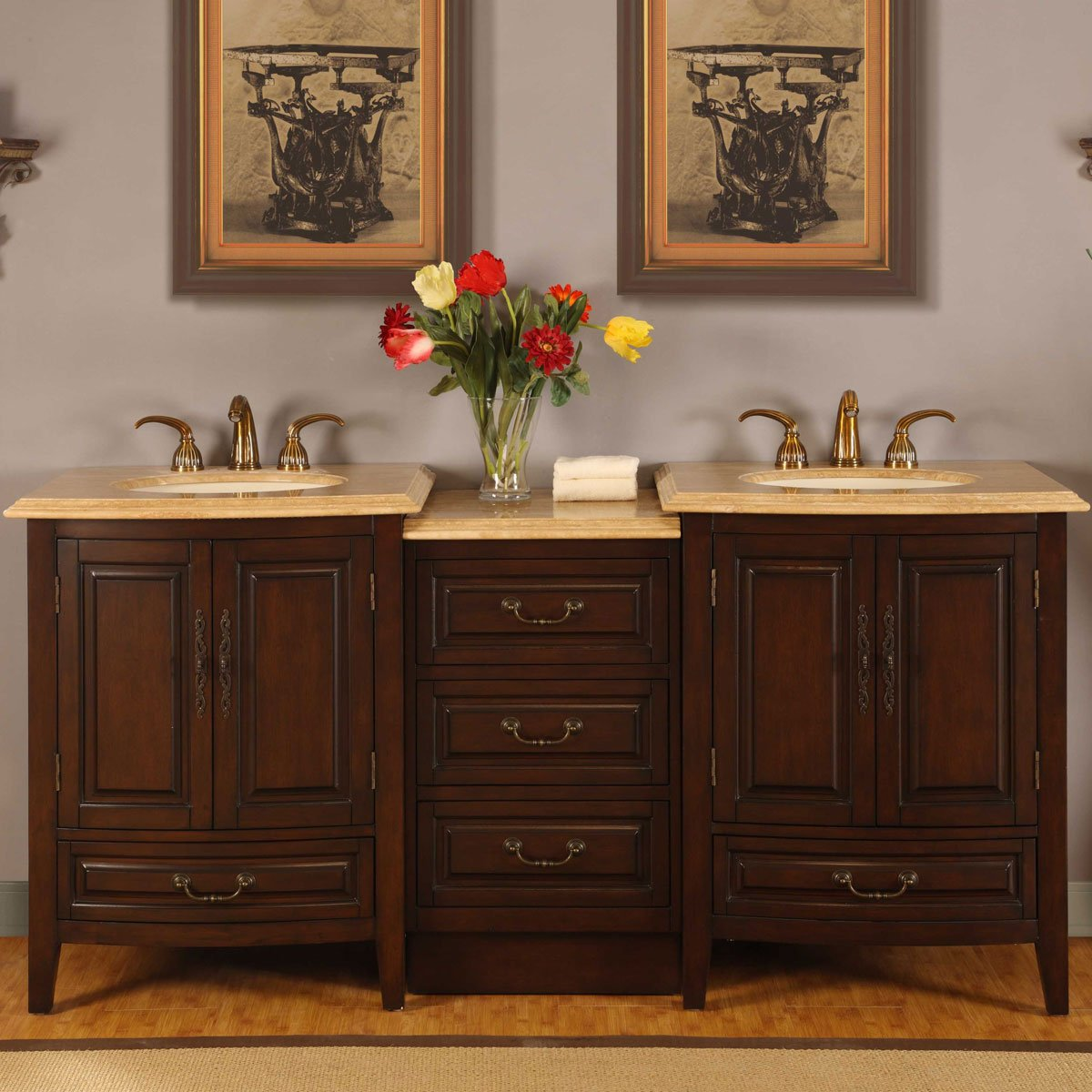 Silkroad Exclusive Travertine Top Double Sink Bathroom Vanity with LED Light Furniture Cabinet , 73-Inch