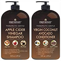 Apple Cider Vinegar Shampoo & Avocado Coconut Conditioner Set - Increase Hydration, Shine & Reduces Itchy Scalp, Dandruff & Frizz, Prevents Hair loss - Sulfate Free, for All Hair Types, Men and Women - 2 x 16 fl oz