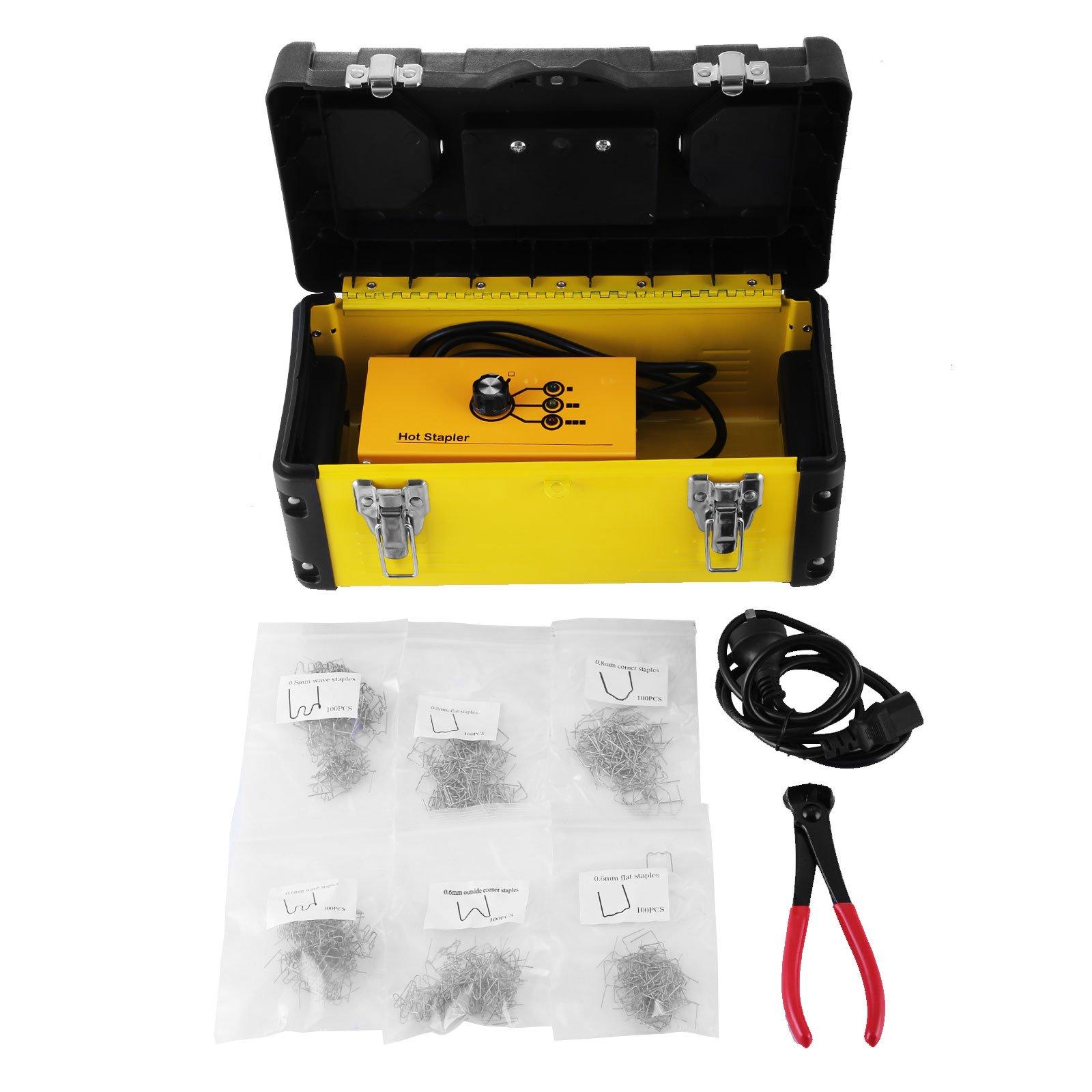 Mophorn Hot Stapler Plastic Repair Kit 600 Staples Tool Box 20W Plastic Welder Kit for Plastic Repair Thermo Repair (600 Staples)