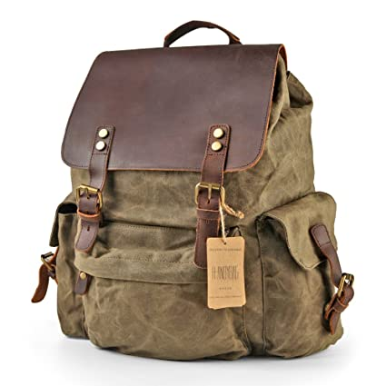 6e7e40158112 Amazon.com  H-ANDYBAG Waxed Canvas Backpack Bag Rucksack Men Jungle ...