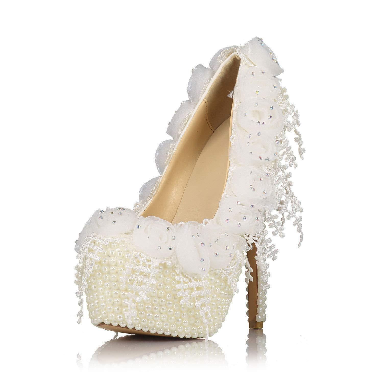 Moontang Braut beige weiße Runden Perle Spitze Hochzeit Schuhe Runden weiße Kopf Stilvolle High Heels 16cm (Farbe   Beige Größe   2.5-3UK(Foot Length 22.5CM)) fc1010