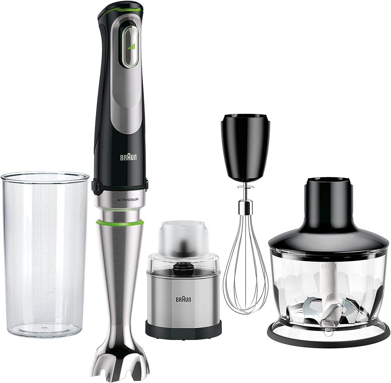 Braun Minipimer 9038 - Batidora de mano, 1000W (picadora 500ml, varillas, molinillo de café y especias, vaso medidor 600ml), velocidad automática, campana antisalpicaduras, Active Blade)