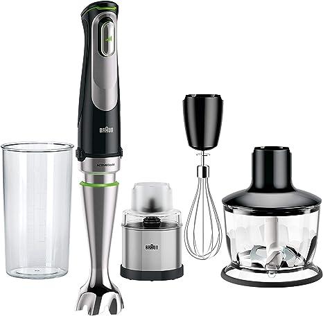 Braun Minipimer 9038 - Batidora de mano, 1000W, 4 accesorios (Picadora 500ml, varillas, molinillo de café y especias, vaso medidor 600ml, velocidad automática, campana antisalpicaduras, Active Blade): Amazon.es: Hogar