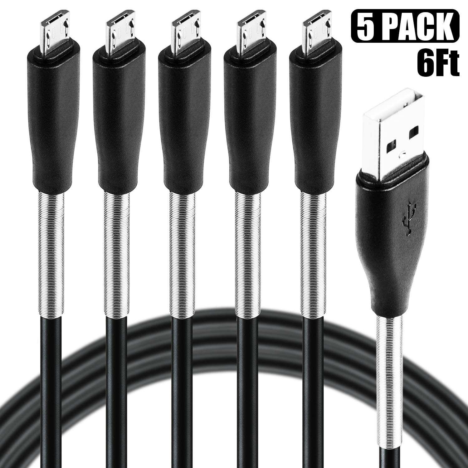 Micro USB Cable 6ft, Cabepow 5 Pack Android Charger Cable Spring Protection High Speed Data and Charging Android Charger Cord for Samsung Galaxy S7 Edge S6 S5,Note 5 4,LG G4 Android Phone