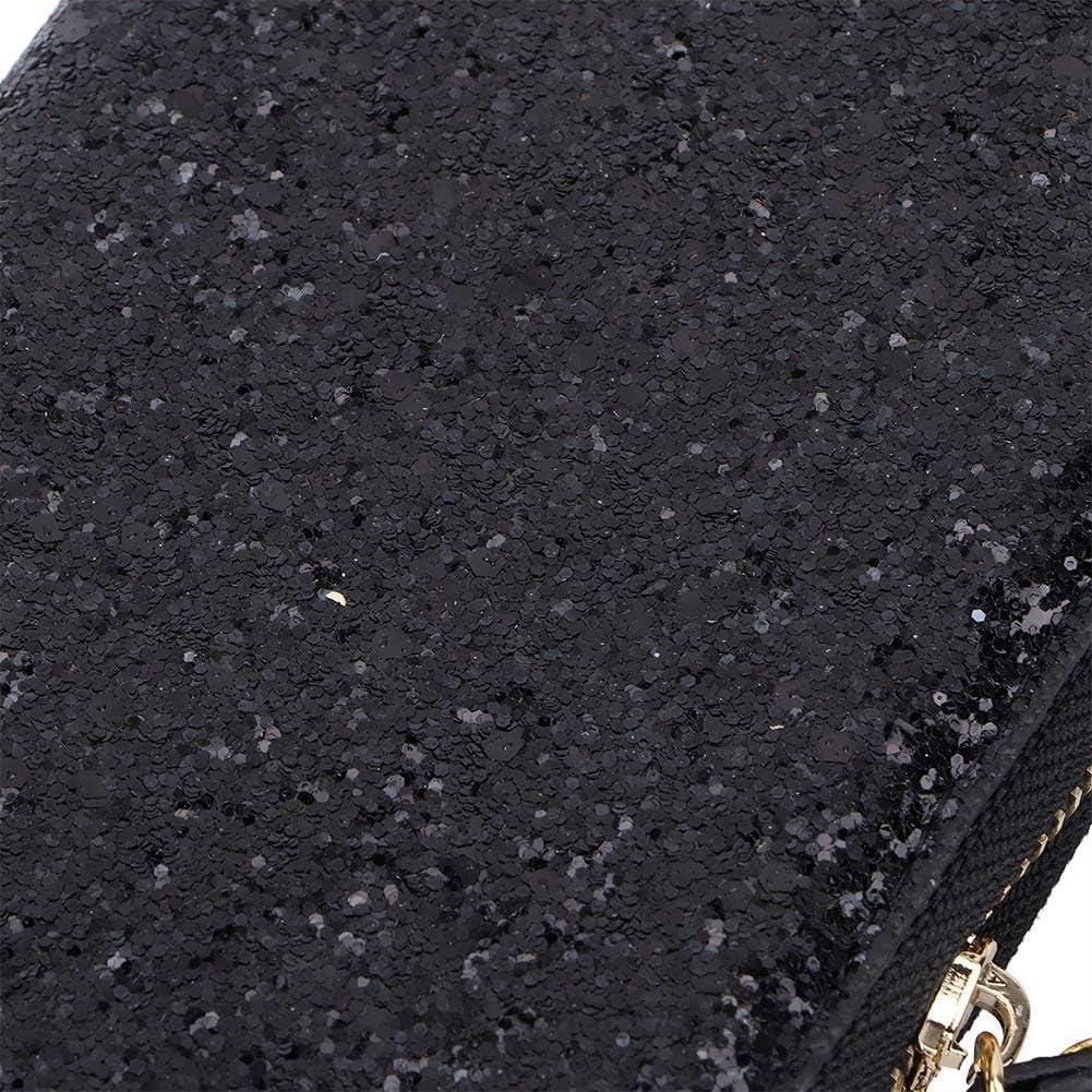 Cafopgrill Billetera de Lentejuelas para Mujer Lentejuelas con Purpurina Embrague Monederos Monedero con Cremallera Cartera de Cuero Bolsa de Dinero Bolsas Llaves de Mano Negro
