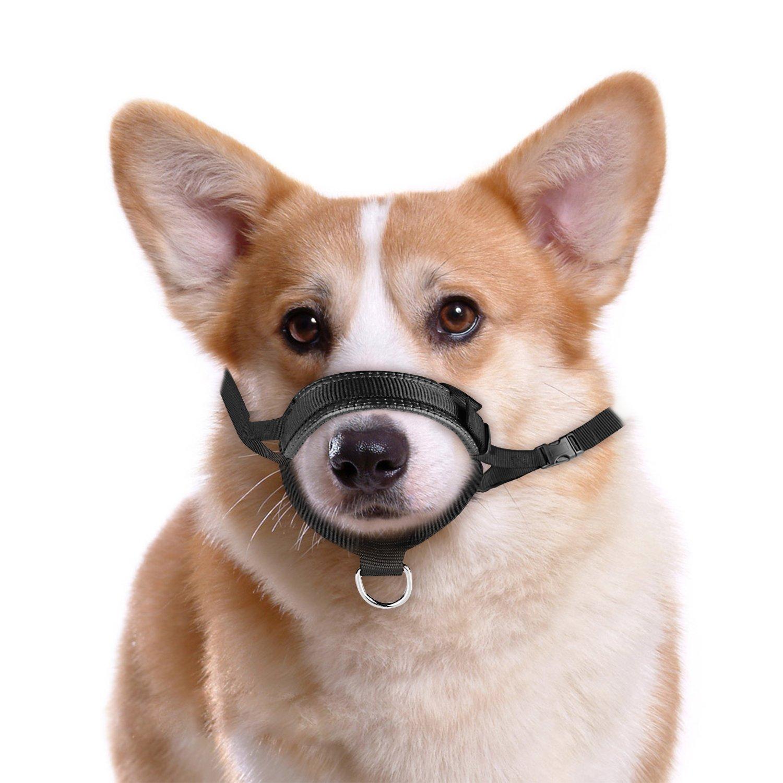 ONSON Dog Muzzle - Adjustable and Comfortable Nylon Muzzles for Small Medium Large Extra Dog - Stops Biting, Safe Retraining of Aggressive Dogs (Dog Muzzle - L)