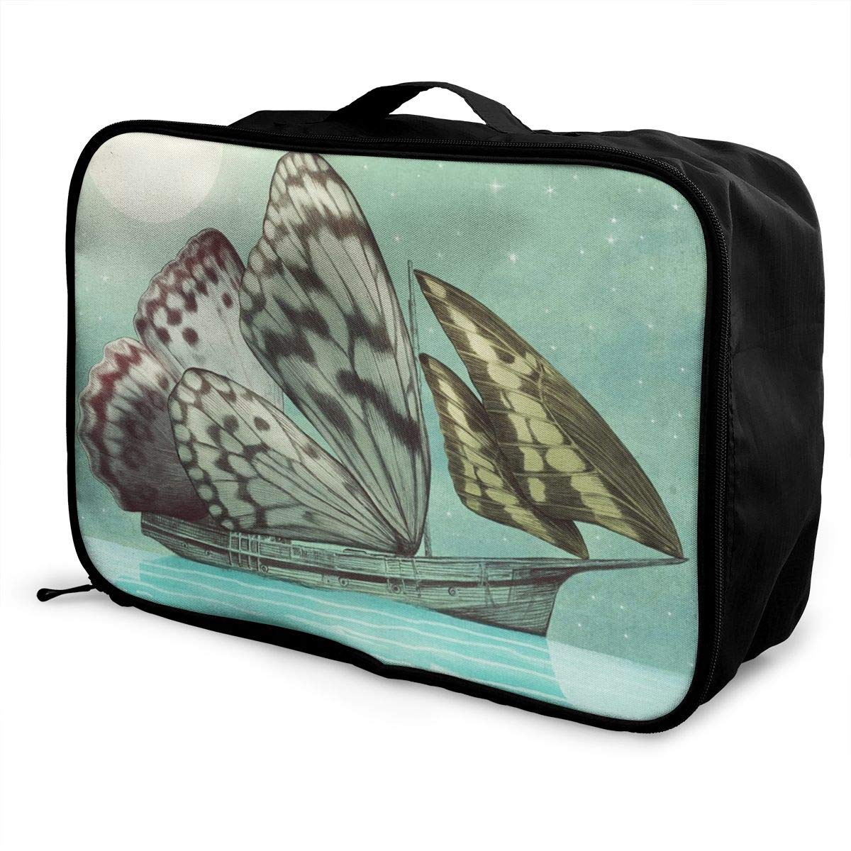 Butterfly Wings Sailboat Sea Voyage Travel Lightweight Waterproof Folding Storage Portable Luggage Duffle Tote Bag Large Capacity In Trolley Handle Bags 6x11x15 Inch