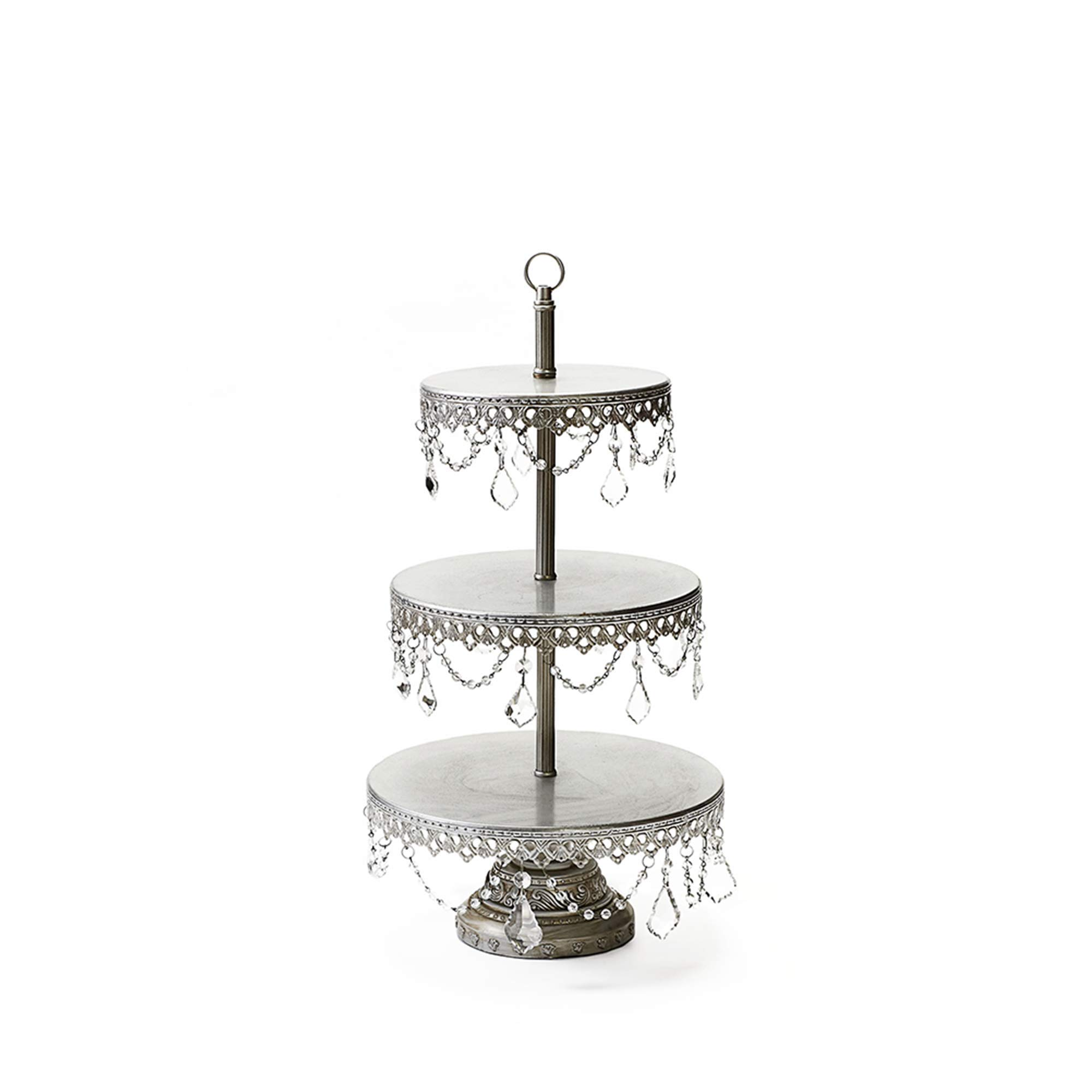 Opulent Treasures 3 Tiered Chandelier Dessert Tray Stand, Antique Silver, Wedding, Anniversary, Birthday Party Buffet Server