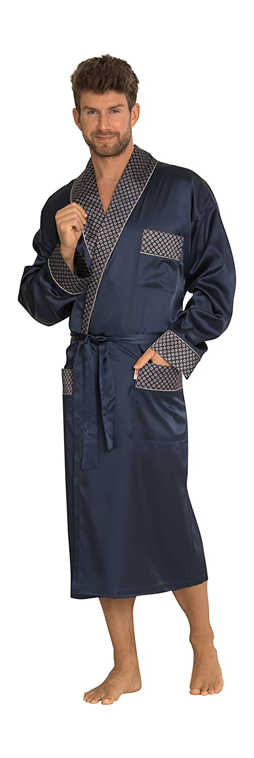 Forex Mens Classic Smooth Satin Lounge Wear Dressing Gown Long Length Self Tie Comfortable Robe Satyna/940