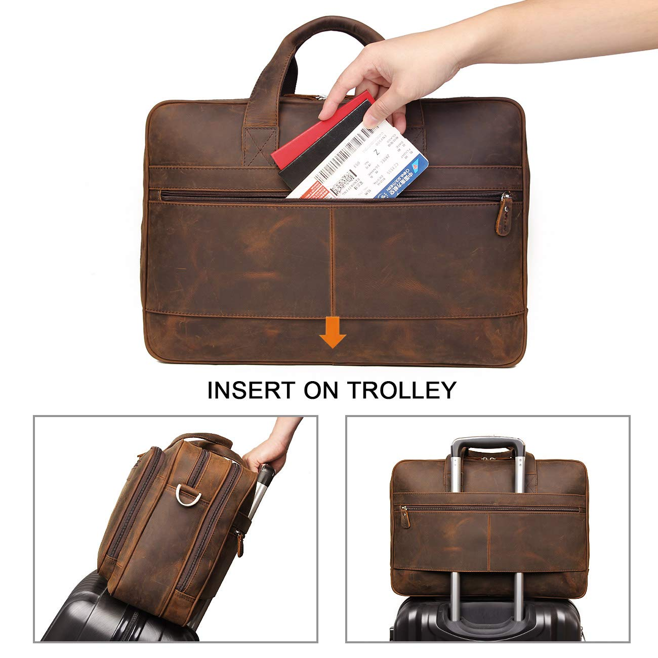 Augus Business Travel Briefcase Genuine Leather Duffel Bags for Men Laptop Bag fits 15.6 inches Laptop (Dark brown) by Augus (Image #6)