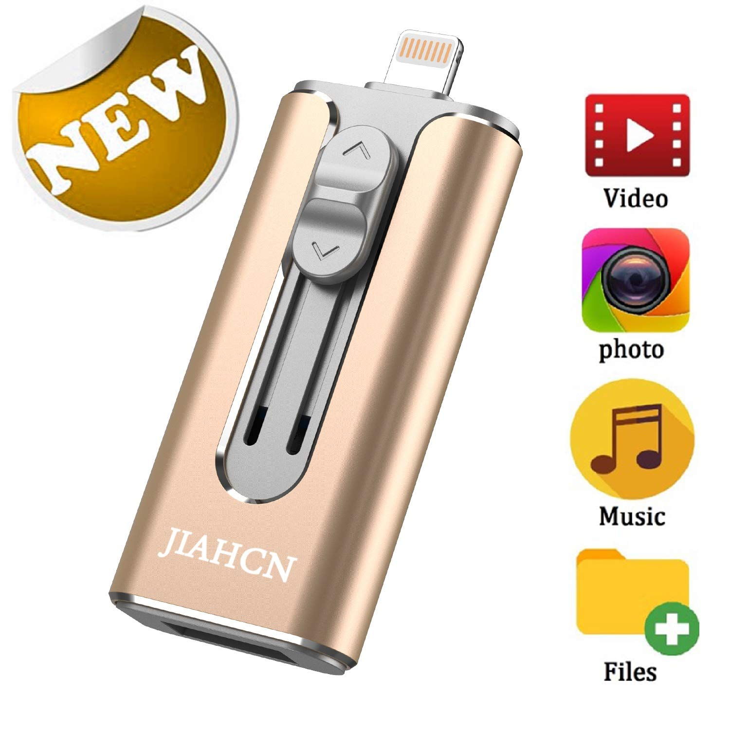 USB Flash Drive Photo Stick for iPhone Flash Drive 128GB JIAHCN iPhone External Storage USB 3.0 Mobile Memory Stick for iPhone,Android,PC Photo iPhone Picture Stick (Gold) by JIAHCN