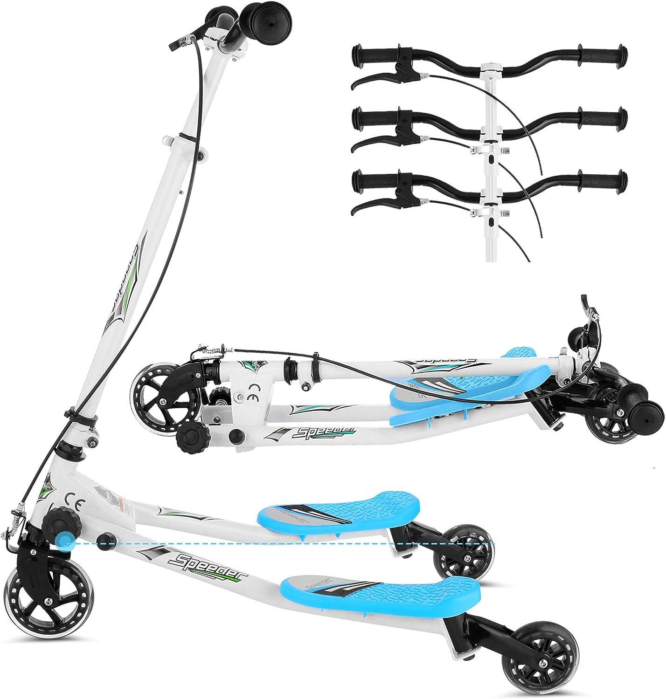 Lonlier Y Flicker 3 Wheel Folding Speeder Push Swing Scooter Tri Slider For Children Aged 3 6 Years 4930 Blue L 85 X W 53 X H 63 80 Cm Sport Freizeit