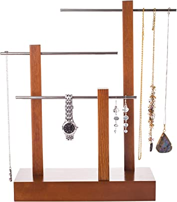 Amazon Com Jewelry Tree Stand Organizer Wooden 3 Tier Table Top Hanging Jewelry Holder And Display For Necklaces Bracelets Bangles Earrings And Rings Solid Wood With Metal Tubing Home Improvement