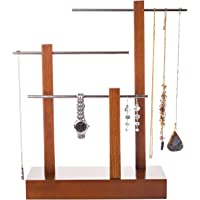 Bleecker Station Jewelry Tree Stand Organizer, Wooden 3-Tier Table Top Hanging Jewelry Holder and Display for Necklaces, Bracelets, Bangles, Earrings and Rings, Solid Wood with Metal Tubing