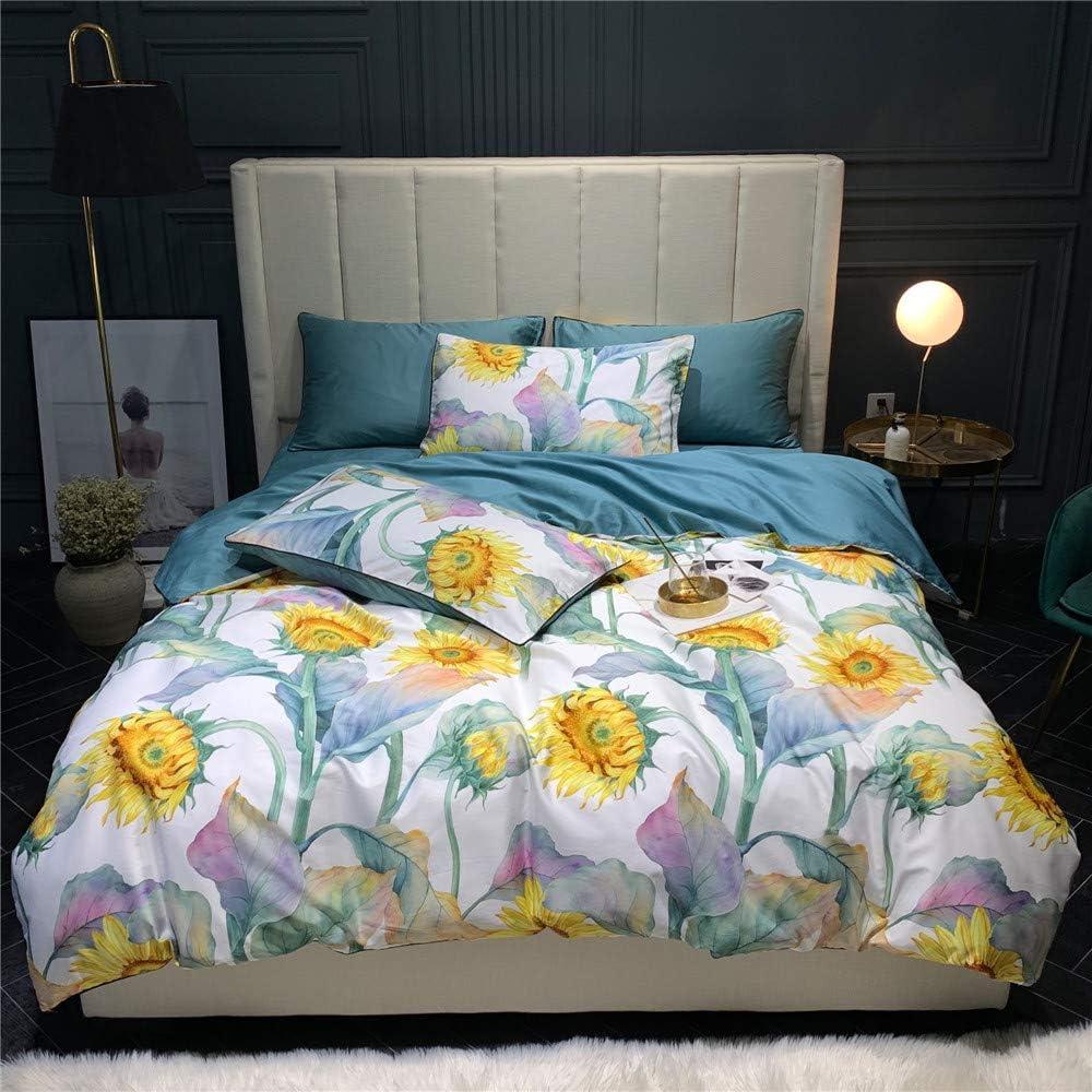 BHUSB 3 Piece Full Bedding Sets Blue Sunflower Print Kids Queen Duvet Cover Set for Girls Women Soft Cotton Floral Comforter Covers for Bedding Collection Full Zipper Closure
