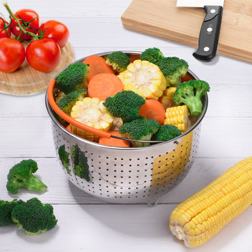 Eggs Meats. Steamer Basket for Instant Pot Accessories Stainless Steel Colander and Insert fits 6 or 8 Quart IP Insta Pot Other Pressure Cookers and Pots Perfect for Steaming Vegetables Instapot