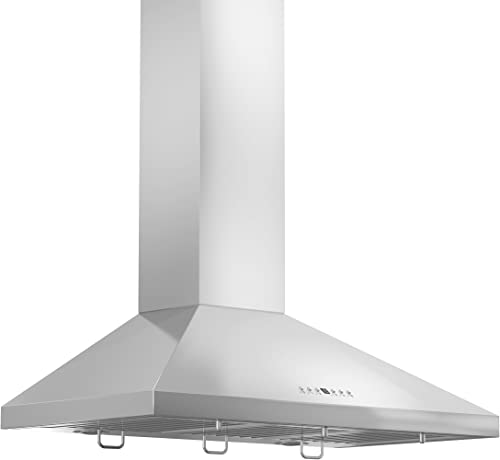 ZLINE 42 in. 400 CFM Wall Mount Range Hood in Stainless Steel with Crown Molding KL2CRN-42