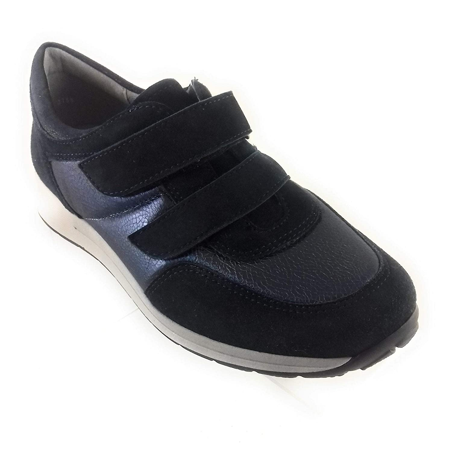 f963c7fa5751 ARA 12-15016 Oslo Navy Leather and Suede Trainer 4.5  Amazon.co.uk  Shoes    Bags