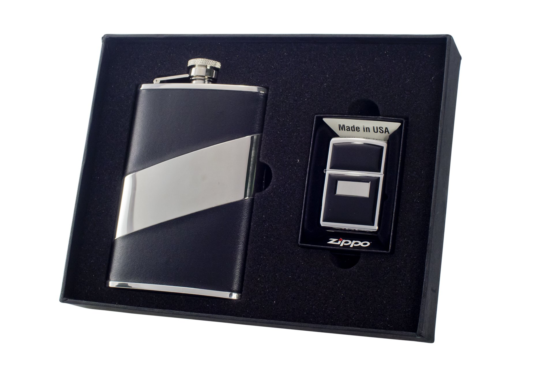 Visol''Descent'' Flask and Zippo Lighter Gift Set with Black Emblem, 8-Ounce
