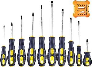 Magnetic-Screwdriver-Set-Phillips-Flat-Head-Tips-Tool 10 PCS Professional Cushion Grip Non-Slip Repairing Screw Driver Set Tools for Repair Home Improvement Craft
