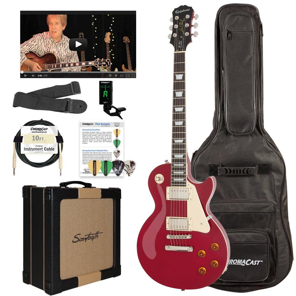 Epiphone Les Paul Standard solid-body Kit de Guitarra Eléctrica con dientes serrados de amplificador de 25 W y chromacast accesorios: Amazon.es: ...