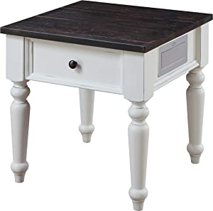 Emerald Home Furnishings Mountain Retreat End Tables, Antique White