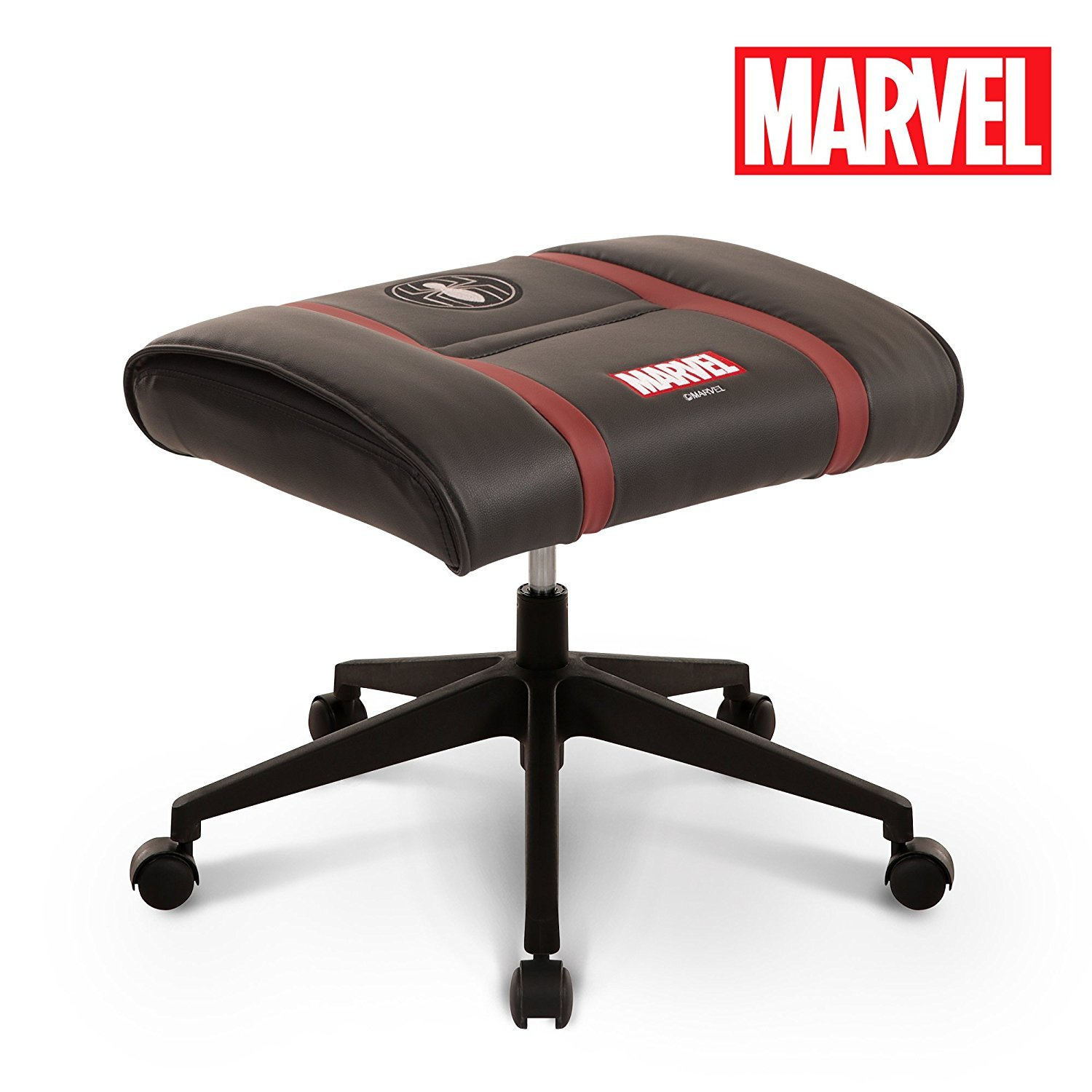 Licensed Marvel Ottoman Foot Rest Seat Stool w/Wheel : Height Adjustable Office Home Furniture Premium PU Leather, Neo Chair (Spider-Man, Black)