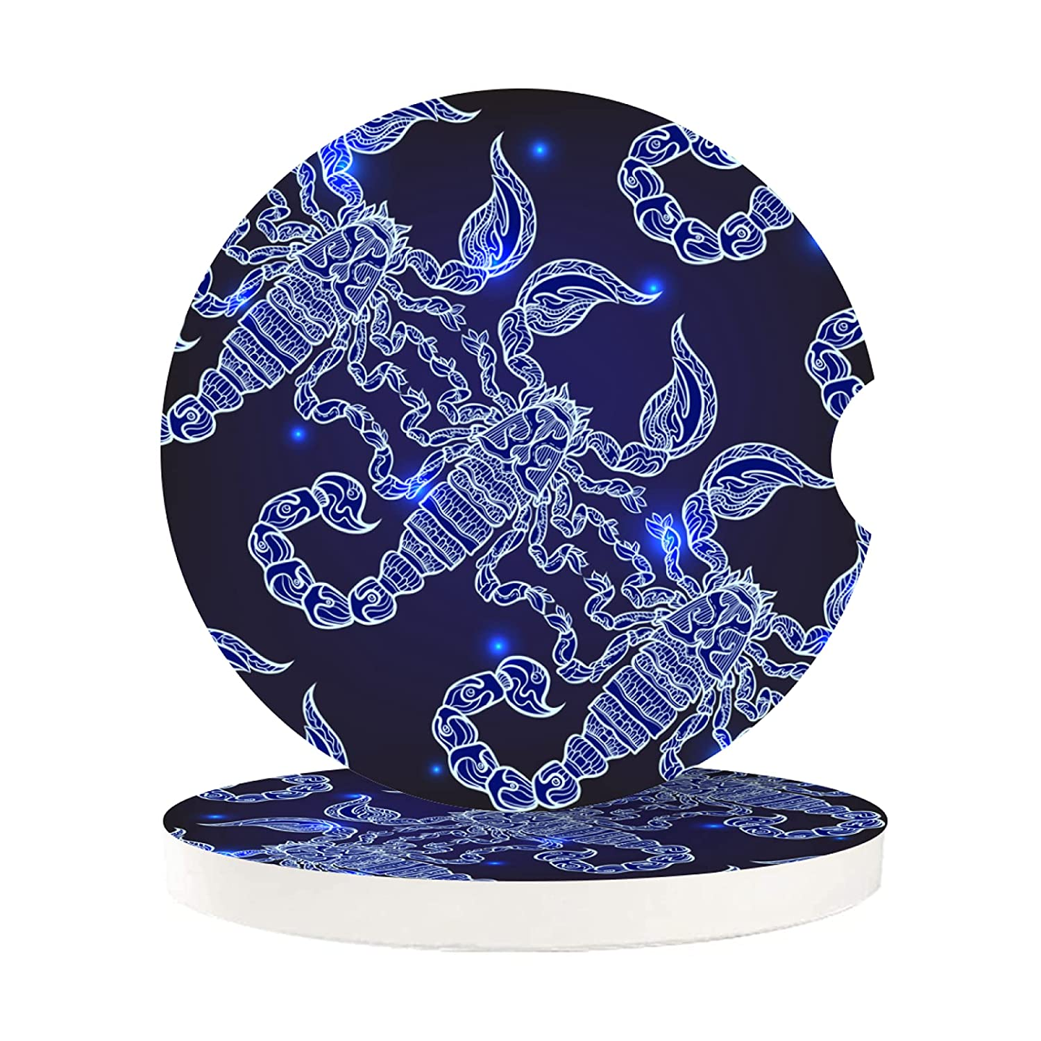 Car Coasters 2 Pack For Women Men Bright Navy Blue Scorpius Scorpion Scorpio Constellations Car Drink Absorbent Cup Holder Insert Cork Cupholder Coaster Set For Your Car Wood Auto Cup Beverage Coaster