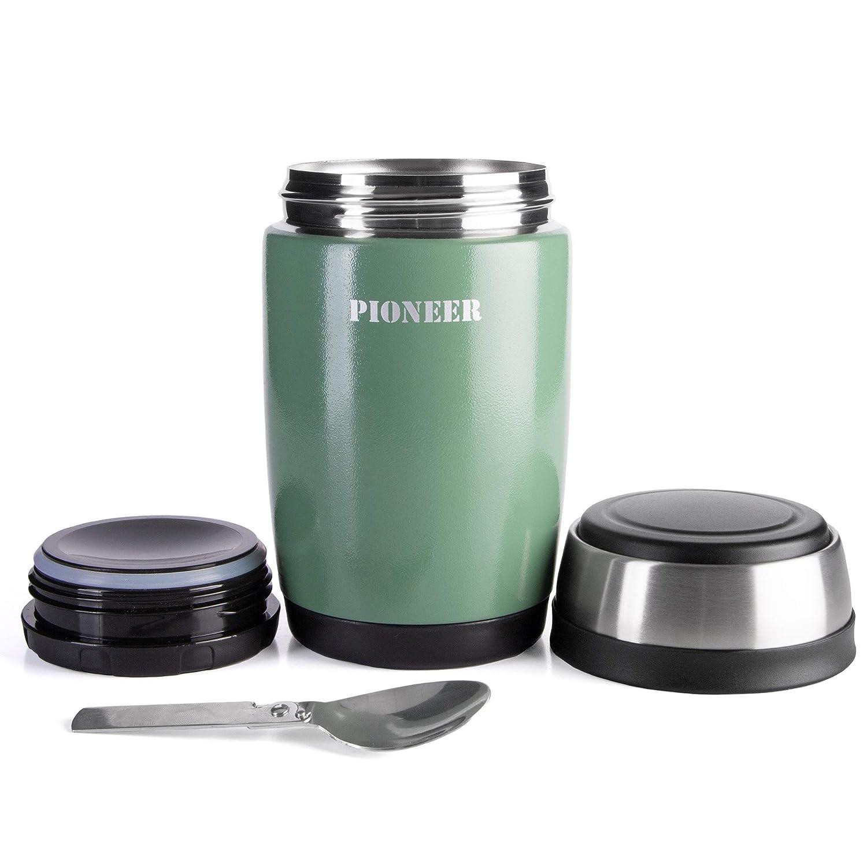 Pioneer Flasque bo/îte isotherme avec culi/ère /à double paroi pour Soupe et//ou Nourriture en acier inoxydable 18//10 rose 0,38L antifuite 8 heures chaud// froid