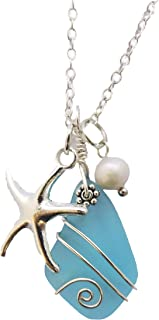 product image for Handmade in Hawaii, Wire Wrapped Turquoise Bay blue sea glass necklace, Starfish charm, freshwater pearl, (Hawaii Gift Wrapped, Customizable Gift Message)
