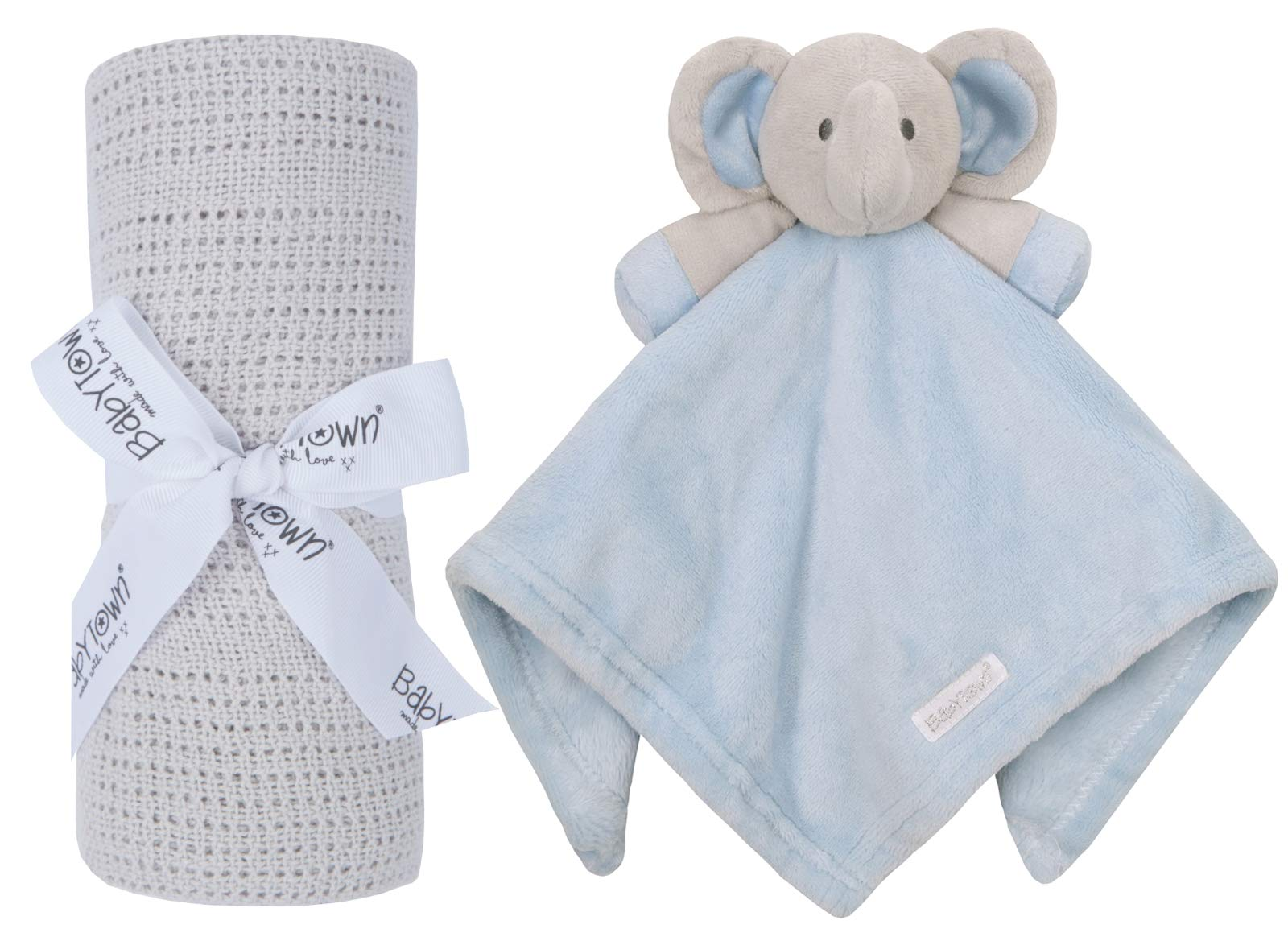 Personalised Baby Comforter Toy and Matching Wrap Set Beautiful Baby Shower Gift Blue Elephant Blue Blanket