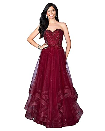 Lily Wedding Womens Beaded Tulle Prom Dresses 2018 Long Sweetheart Formal Evening Party Ball Gowns with