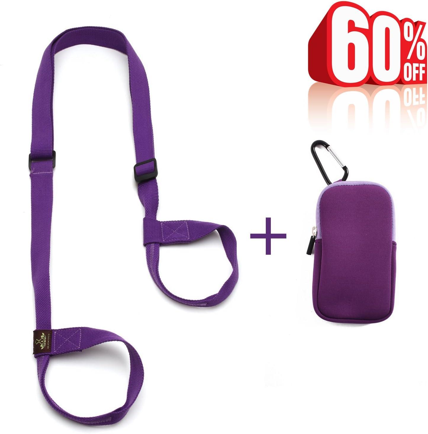Heathyoga Yoga Mat Strap, Free Phone Keys Pouch, 100 Organic Cotton, Adjustable Yoga Strap Yoga Mats and Excecise Mats