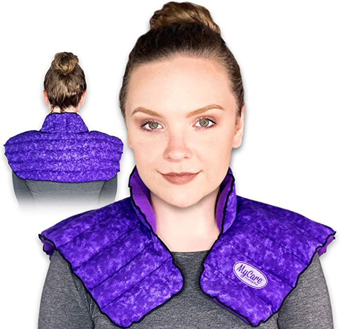 MyCare Heating Pad | Microwavable Large Neck and Shoulder Wrap for Instant Pain Relief - Weighted and Deep Moist Heat Pack for Stiffness, Arthritis, Bursitis, and Relaxation - Safe Natural Home Remedy