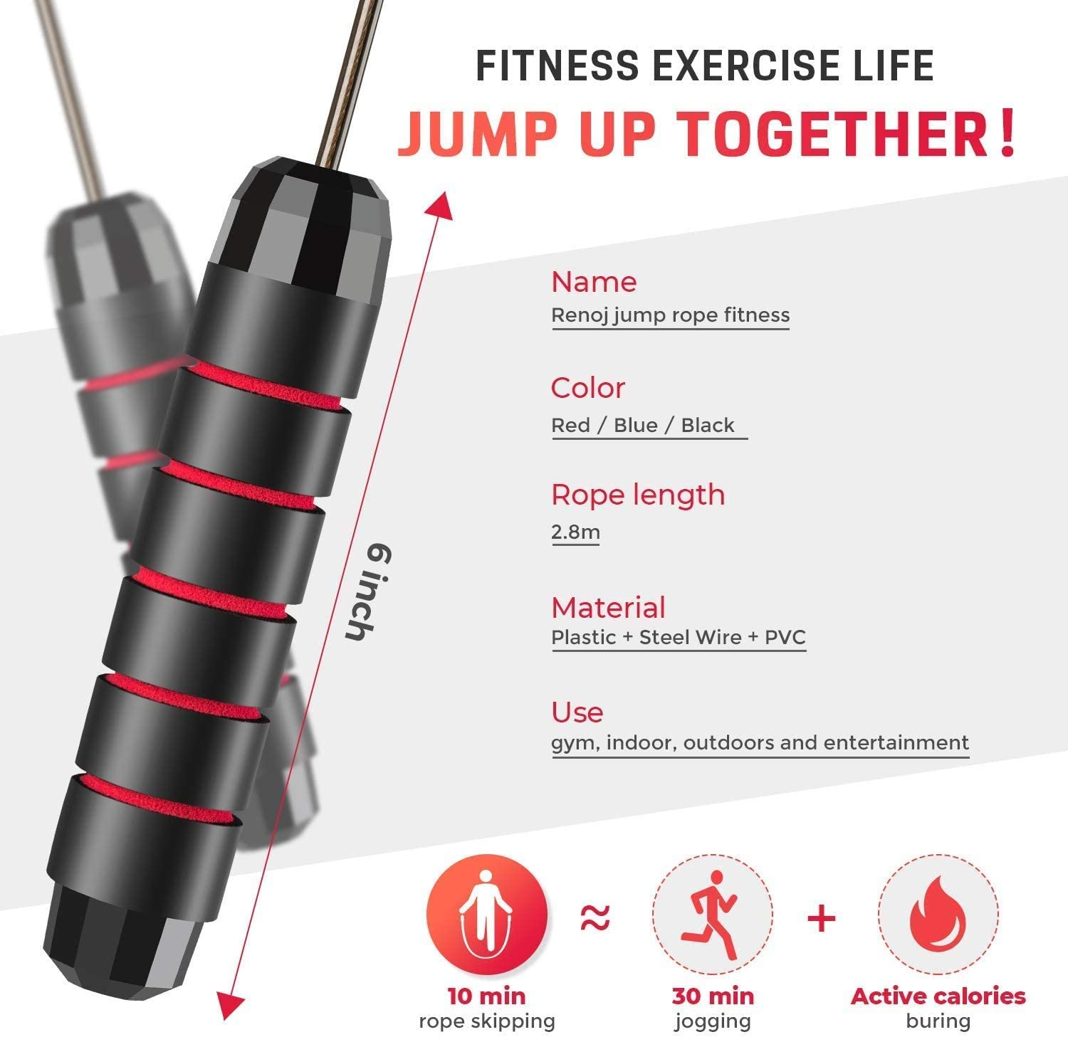 """ZEICAFER Skipping Rope Tangle-Free with Ball Bearings Jump Rope Cable and 6/"""" Memory Foam Handles"""