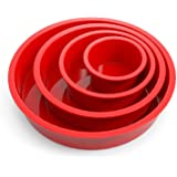Round Cake Pans - Set of 4 - SILIVO Silicone Molds for Baking, Nonstick & Quick Release Baking Pans for Layer Cakes, Cheese C
