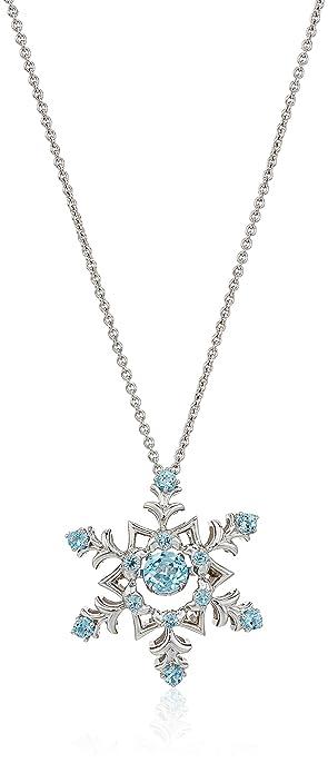 "564c51c8891a3d Sterling Silver Swiss Blue Topaz Snowflake Pendant Necklace, 18"""