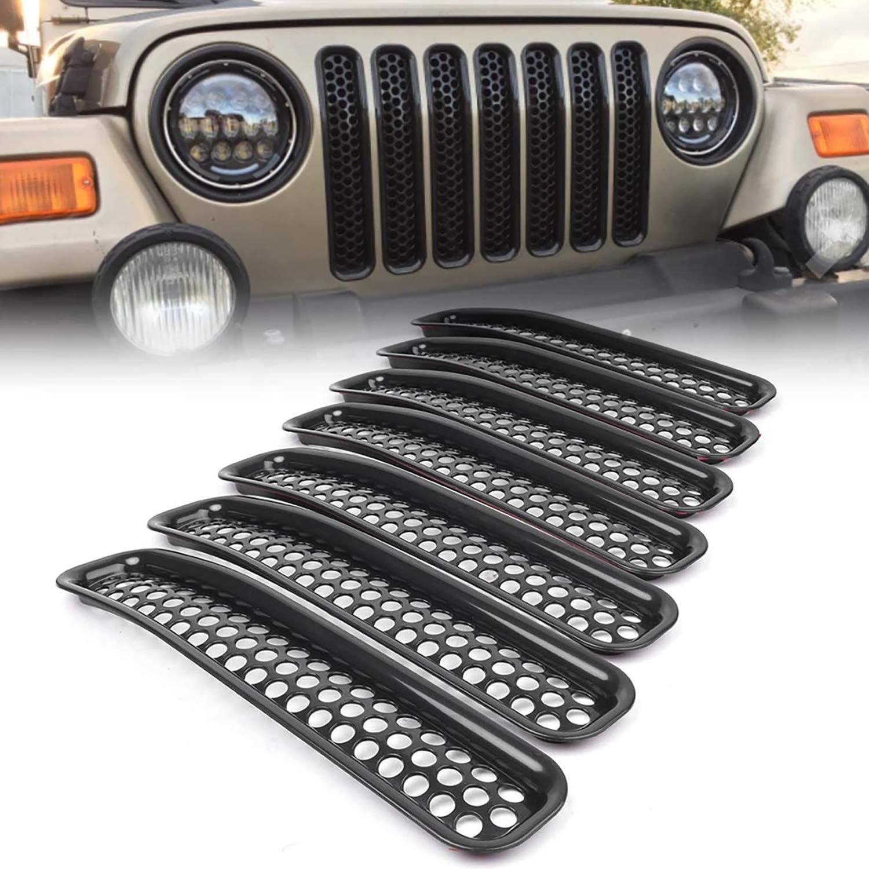AWANTA Jeep Wrangler Grill Inserts Black Honeycomb Mesh Guard for 1997-2006 Jeep TJ Wrangler-7pcs