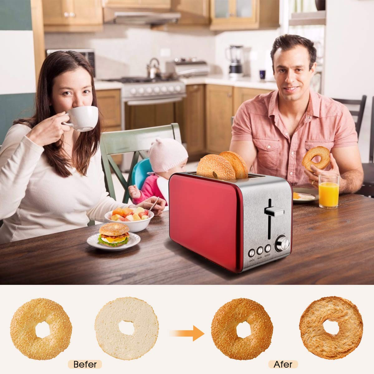 2 Slice Toaster, MKG Stainless Steel Bagel Toaster with Extra Wide Slots, 6 Shade Settings, Bagel/Defrost/Cancel Function, Removable Crumb Tray, High Lift Lever, Red