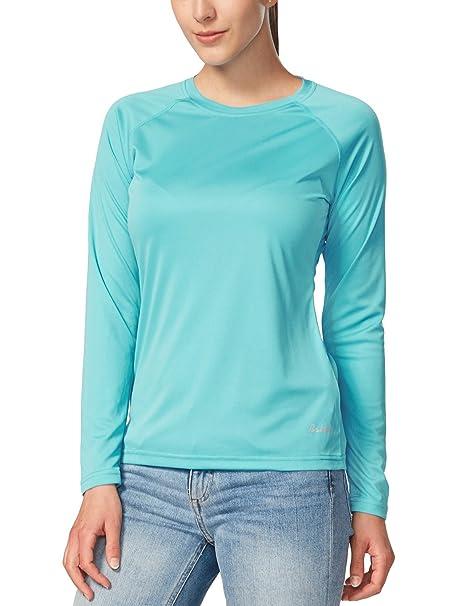 Baleaf Women s UPF 50+ Sun Protection T-Shirt Long Sleeve Outdoor  Performance Blue Size 25b3b10f25
