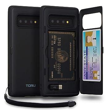TORU CX Pro Funda Galaxy S10 Carcasa Cartera con Tarjetero Oculto, Adaptador USB, Correa Desmontable y Espejo para Samsung Galaxy S10 - Negro Mate