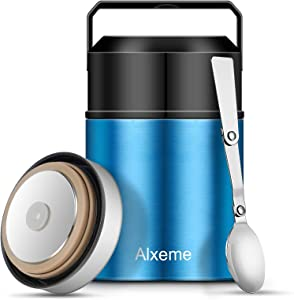 Soup Thermos Food Jar Insulated Lunch Container Bento Box for Cold Hot Food 27oz Food Flask Wide Mouth Stainless Steel Vacuum Lunch Box for Kids Adult with Spoon Flexible Handle Leak Proof – Blue