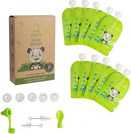 Gourde compote réutilisable – Lot de 10 gourdes réutilisables Smile&Green et ses 4 accessoires