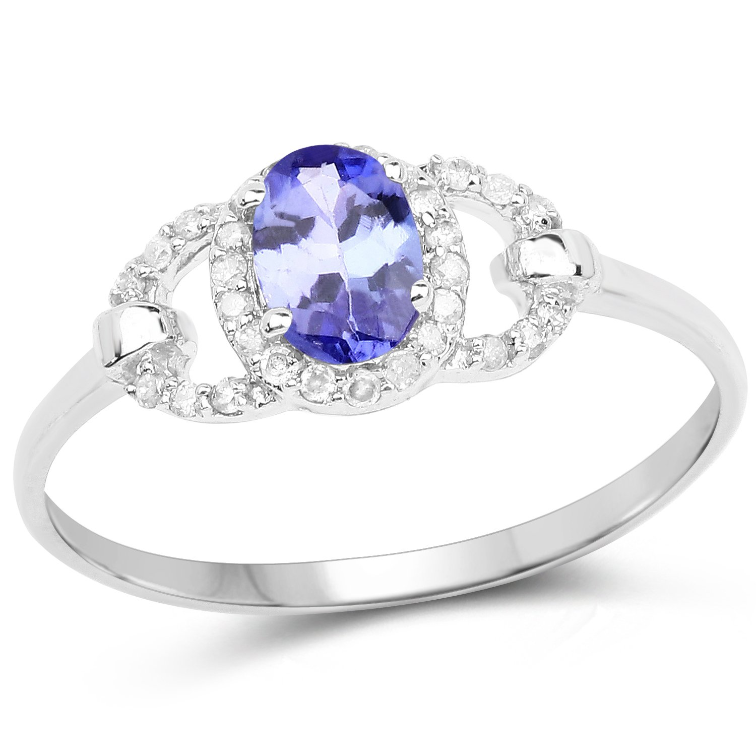 0.56 Carat Genuine Tanzanite and White Diamond 10K White Gold Ring