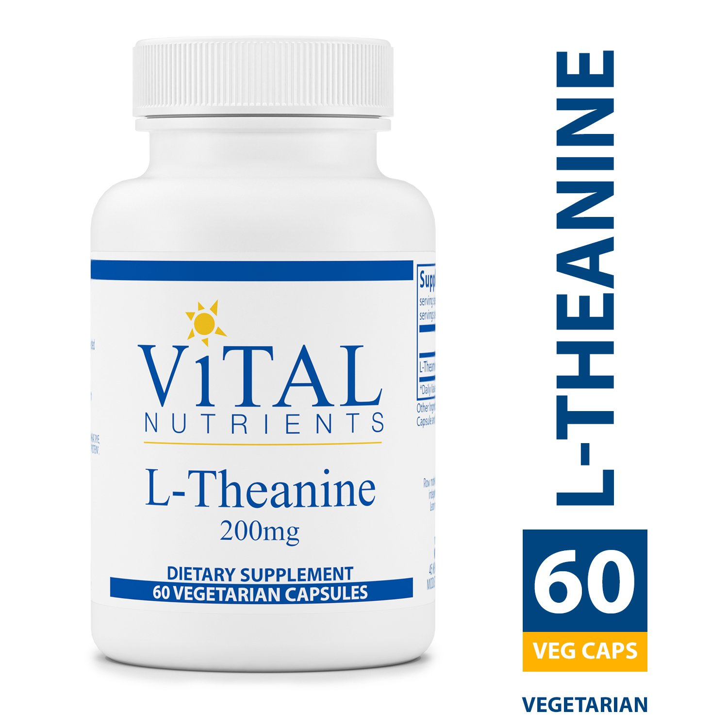 Vital Nutrients - L-Theanine 200 mg - Supports Normal Stress Levels and Relaxation - 60 Capsules