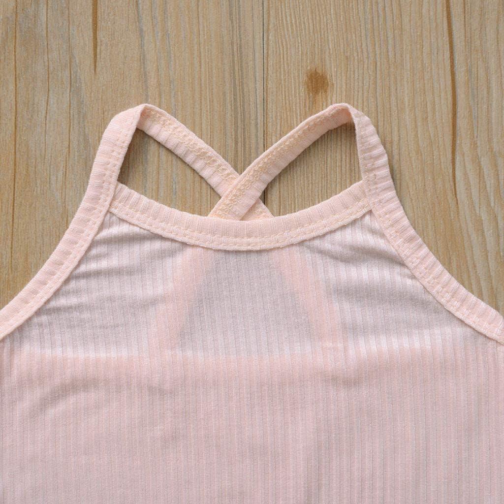Goldweather Newborn Baby Girls Boys Sleeveless Bodysuit Cotton Solid Color Halter One Piece Romper